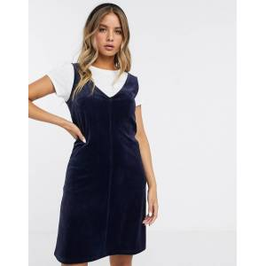 Pieces corduroy dungaree dress-Navy  - Navy - Size: Extra Small