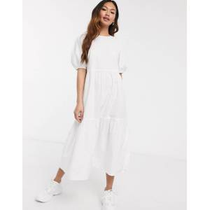 Pieces cotton midi smock dress with puff sleeve in white  - White - Size: Small