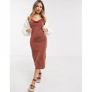 Pieces cowl neck midi slip dress-Brown  - Brown - Size: Large