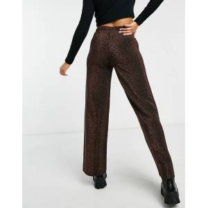 Pieces Crina wide leg high waisted trousers in brown  - Brown - Size: Medium