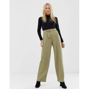 Pieces d ring belted wide leg trouser-Green  - Green - Size: Extra Small