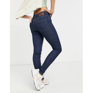 Pieces delly skinny mid wash skinny jeans in indigo-Blue  - Blue - Size: Extra Small