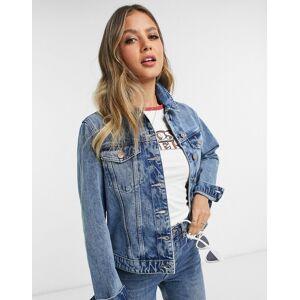 Pieces denim jacket in blue  - Blue - Size: Large