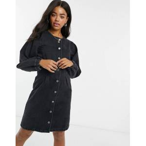 Pieces denim mini dress with puff sleeves and button through in black  - Black - Size: Medium