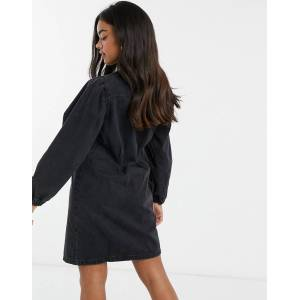 Pieces denim mini dress with puff sleeves and button through in black  - Black - Size: Extra Small
