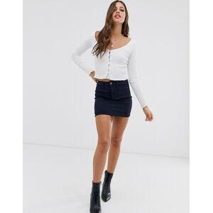 Pieces denim mini skirt-Navy  - Navy - Size: Large
