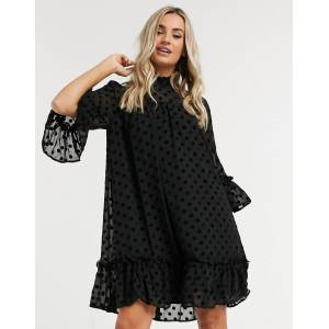 Pieces dobby mesh smock dress with high neck in black polka dot  - Black - Size: Medium