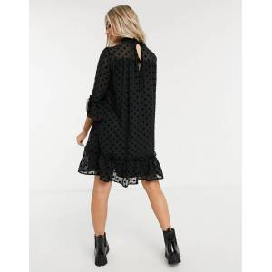 Pieces dobby mesh smock dress with high neck in black polka dot  - Black - Size: Large