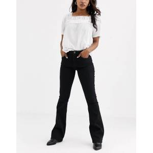 Pieces flared jeans in black  - Black - Size: Medium