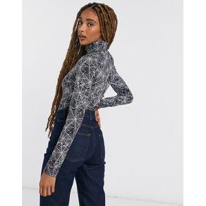 Pieces high neck bodysuit in black cob web-Multi  - Multi - Size: Extra Large