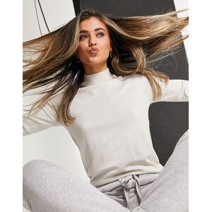 Pieces high neck jumper in cream-White  - White - Size: Medium