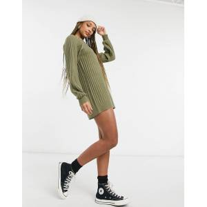 Pieces high neck knitted dress in khaki-Green  - Green - Size: Extra Small
