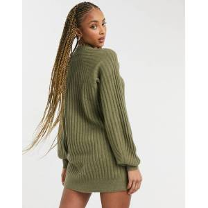 Pieces high neck knitted dress in khaki-Green  - Green - Size: Medium