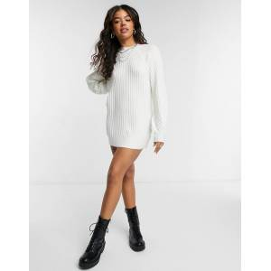 Pieces high neck knitted dress in white  - White - Size: Large