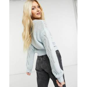 Pieces high neck knitted jumper in pastel blue  - Blue - Size: Large