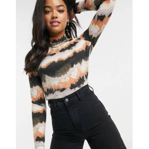Pieces high neck top in black abstract print-Multi  - Multi - Size: Small