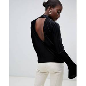 Pieces High Neck Velvet Ribbed Flare Sleeve Top-Black  - Black - Size: Medium