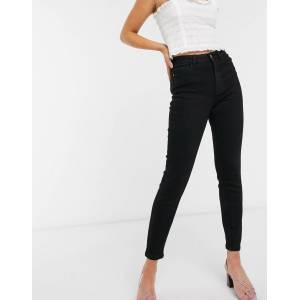 Pieces high waist skinny jeans in black  - Black - Size: Small