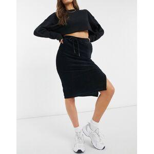 Pieces high waisted jersey tie waist midi skirt in black  - Black - Size: Medium