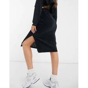 Pieces high waisted jersey tie waist midi skirt in black  - Black - Size: Extra Small