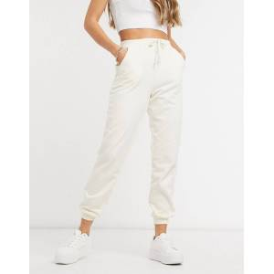 Pieces high waisted jogger co ord in cream  - Cream - Size: Small
