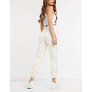 Pieces high waisted jogger co ord in cream  - Cream - Size: Large
