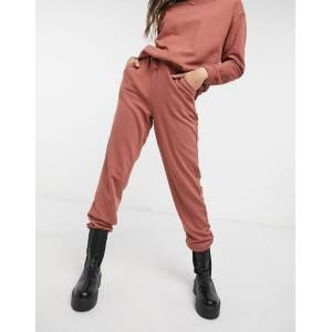 Pieces high waisted jogger co ord in rust-Red  - Red - Size: Small