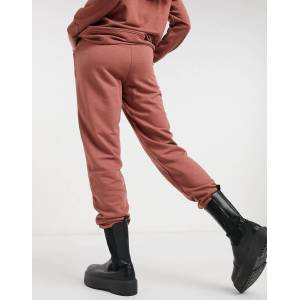 Pieces high waisted jogger co ord in rust-Red  - Red - Size: Large