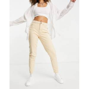 Pieces high waisted mom jean in beige-White  - White - Size: Medium