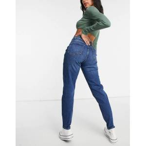 Pieces high waisted mom jean in mid blue  - Blue - Size: Large