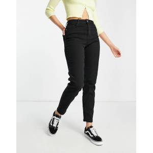 Pieces high waisted Mom jeans in black  - Black - Size: Medium