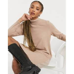 Pieces jumper dress with high neck in camel-Brown  - Brown - Size: Medium