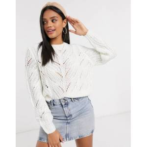 Pieces jumper with knitted pattern in cream-White  - White - Size: Medium