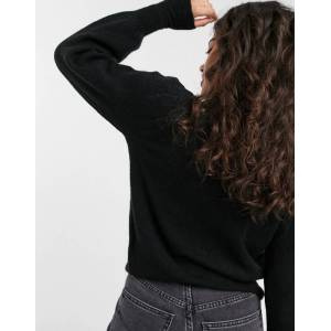Pieces jumper with puff sleeves and deep cuffs in black  - Black - Size: Extra Small