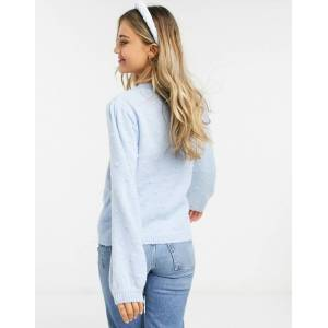 Pieces jumper with textured detail and volume sleeves in blue  - Blue - Size: Medium