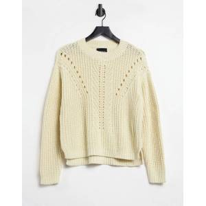 Pieces jumper with textured knit in cream-White  - White - Size: Medium