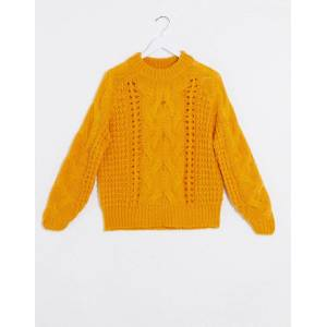 Pieces jyla cable knit jumper in gold  - Gold - Size: Extra Small