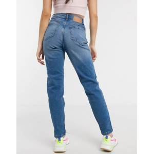 Pieces Kesia high waisted boyfriend jeans in blue  - Blue - Size: Extra Small