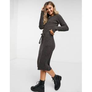 Pieces knitted midi dress with tie waist in chocolate-Brown  - Brown - Size: Extra Large