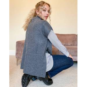 Pieces knitted vest with high neck in dark grey  - Grey - Size: One Size