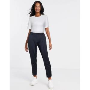 Pieces koja mid rise ankle grazer check trousers in black  - Black - Size: Medium