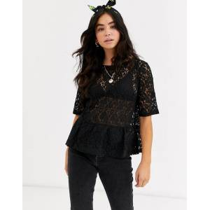 Pieces lace peplum short sleeve top-Black  - Black - Size: Extra Small