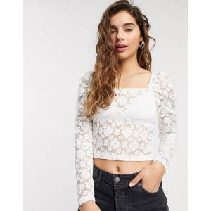 Pieces lace top with square neck in white  - White - Size: Medium