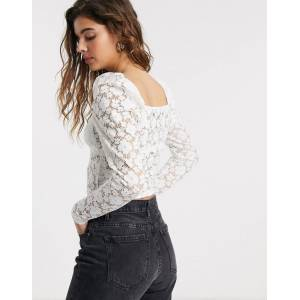 Pieces lace top with square neck in white  - White - Size: Extra Large