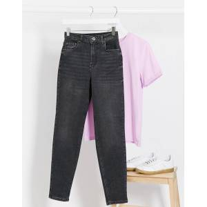Pieces leah mom jeans in washed black  - Black - Size: Extra Large