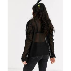 Pieces long puff sleeve dobby mesh top-Black  - Black - Size: Extra Small