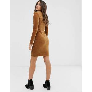 Pieces long sleeve bodycon dress-Beige  - Beige - Size: Large