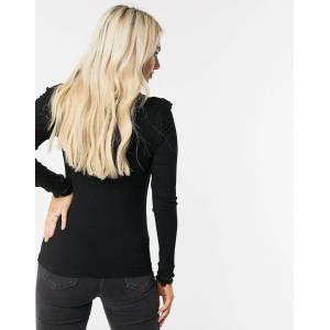 Pieces long sleeved ribbed top with lettuce hem edges in black  - Black - Size: Extra Small