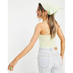 Pieces Marion halterneck crop top in light green  - Green - Size: Large