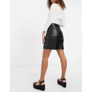 Pieces Martha high waisted a line mini skirt in black  - Black - Size: Extra Large